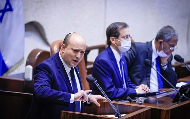 Prime Minister Naftali Bennett speaks during the opening of the winter session at the Knesset, October 4, 2021. (Olivier Fitoussi/Flash90)
