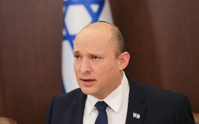 Prime Minister Naftali Bennett leads a cabinet meeting at the Prime Minister's Office in Jerusalem on October 5, 2021.  (Alex Kolomoisky/Pool/Flash90)