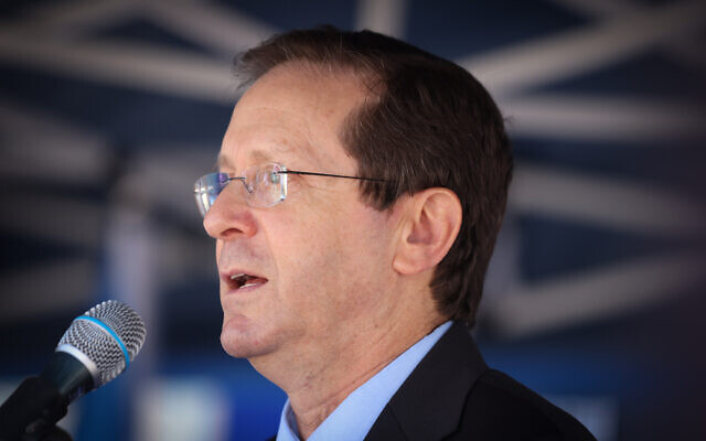 President Isaac Herzog attends an event in northern Israel, on October 11, 2021. (David Cohen/Flash90)