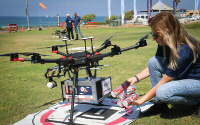 The third out of eight phases of the National Drone Initiative's pilot project to create a national drone network, where amongst others the drones would be able to deliver food and medicine through an application, in Tel Aviv, on October 11, 2021 (Photo by FLASH90)
