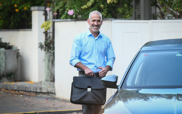 Ronen Bar, the new head of the Shin Bet, leaves his home in Rishpon on October 11, 2021. (Flash90)