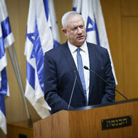 Defense Minister Benny Gantz speaks at an event celebrating the one-year anniversary of the Abraham Accords, in the Israeli parliament in Jerusalem, on October 11, 2021. Israeli minister of Defense Benny Gantz speaks at an event celebrating the one-year anniversary of the Abraham Accords, in the Israeli parliament in Jerusalem, on October 11, 2021. (Yonatan Sindel/Flash90)