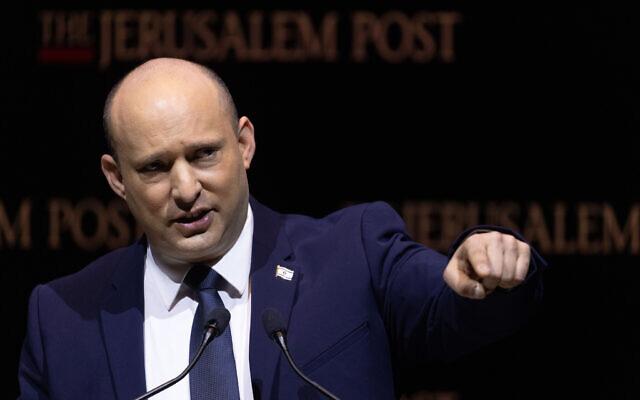 Prime Minister Naftali Bennett speaks at the Jerusalem Post Conference, held in Jerusalem, October 12, 2021. (Yonatan Sindel/Flash90)