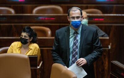 Religious Zionism MK Simcha Rotman is seen during a plenum session in the assembly hall of the Knesset, in Jerusalem, on October 13, 2021. (Yonatan Sindel/Flash90)