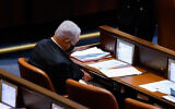 Opposition leader Benjamin Netanyahu sits in the Knesset plenum on October 18, 2021. (Olivier Fitoussi/Flash90)