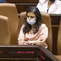 Interior Minister Ayelet Shaked during a memorial ceremony marking 26 years since the assassination of prime minister Yitzhak Rabin, at the Knesset on October 18, 2021 (Olivier Fitoussi/Flash90)