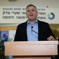 Health Minister Nitzan Horowitz speaks during a press conference at Shaare Zedek Medical Center in Jerusalem, October 18, 2021. (Yonatan Sindel/ Flash90)