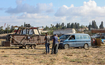 The scene where a man fell to his death from a hot air balloon near Afula, northern Israel, October 19, 2021(Meir Vaknin/Flash90)