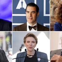 Clockwise from top left; Albert Bourla (AFP), Sacha Baron Cohen (AP), Diane von Furstenberg (AP), Serge Klarsfeld (AFP), Scarlett Johansson (AP) and Yuval Noah Harari (Courtesy)