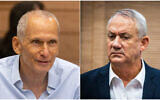 (L) Public Security Minister Omer Barlev during a meeting at the Knesset, September 13, 2021 and (R) Defense Minister Benny Gantz during meeting at the Knesset, October 19, 2021. (Olivier Fitoussi; Yonatan Sindel/Flash90)
