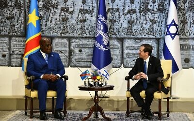 President Isaac Herzog (right) meets with Democratic Republic of Congo President Félix Tshisekedi at the President's Residence in Jerusalem, October 27, 2021 (Haim Zach/GPO)