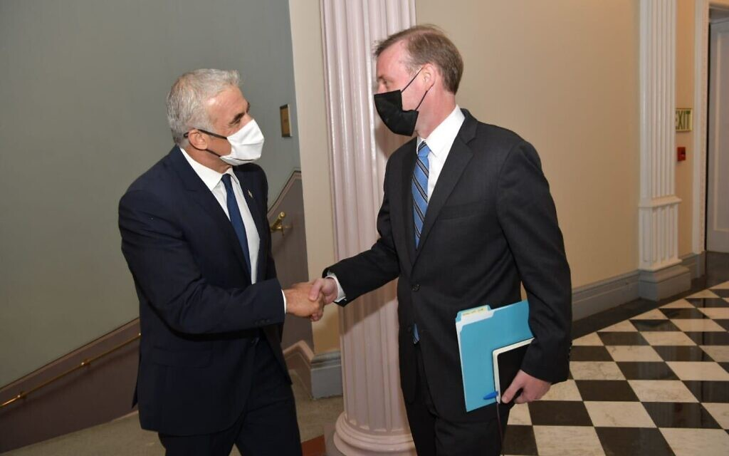 Foreign Minister Yair Lapid meets with US National Security Adviser Jake Sullivan in Washington, DC, on October 12, 2021. (Shlomi Amsalem/Courtesy)