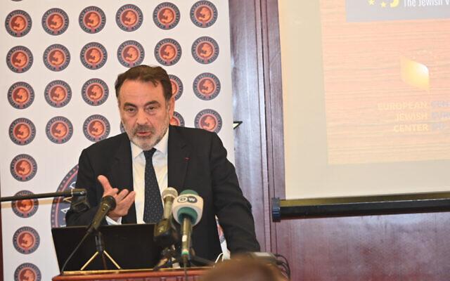 Joel Mergui speaks at a European Jewish Association conference in Brussels, Belgium on Oct. 12, 2021. (Cnaan Liphshiz/JTA)