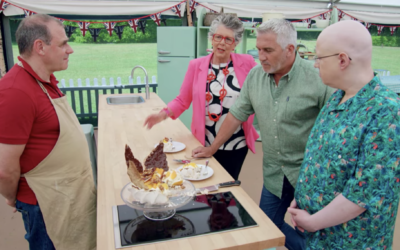 Jurgen Krauss, who bakes challah for his family's synagogue, shows off his Passover-inspired pavlova in 'The Great British Bake Off' tent. (Screenshot from Netflix)