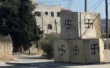 Swastikas graffitied in the northern West Bank on October 22, 2021. (Yitzhar settlement)