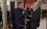 """on Hamm and Larry David discuss Yiddish words during the first episode of Season 11 of """"Curb Your Enthusiasm."""" (Screenshot from HBO via JTA)"""