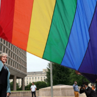 US Energy Secretary Jennifer Granholm raises the Pride Flag for the first time outside the Department of Energy on June 2, 2021. (Kevin Dietsch GETTY IMAGES NORTH AMERICA/AFP/File)