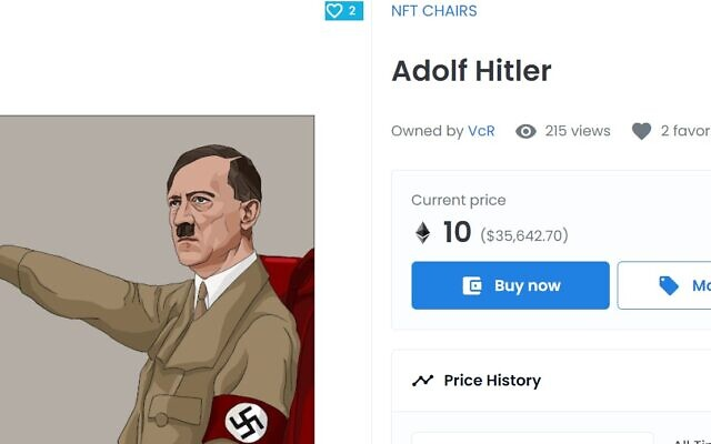 An NFT image of Adolf Hitler offered for sale on OpenSea (Screenshot/OpenSea)