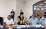 Screen capture from video of Interior Minister Ayelet Shaked, center, announcing that Maghar had become the first Druze city in Israel, October 26, 2021. (Twitter)