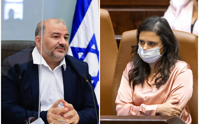 Ra'am chief Mansour Abbas in the Knesset, on October 4, 2021; Interior Minister Ayelet Shaked in the Knesset, on October 18, 2021. (Olivier Fitoussi/Flash90)