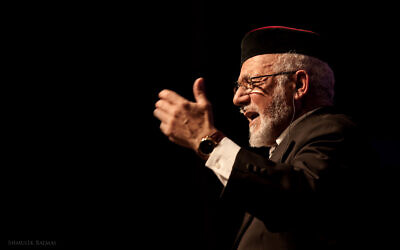 Rabbi Haim Louk, a famed singer of liturgical poems, who will perform with Israeli singers Amir Benayoun and Berry Sakharov for his 80th birthday celebrations in October and December 2021. (courtesy, Shmulik Balmas)