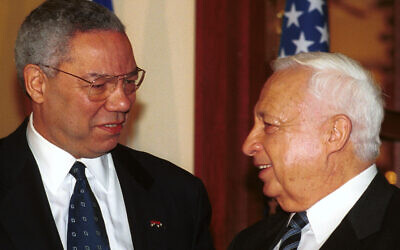 US Secretary of State Colin Powell (left) meets with Prime Minister-elect Ariel Sharon on February 25, 2001. (Shauli Shem-Tov/Flash90)