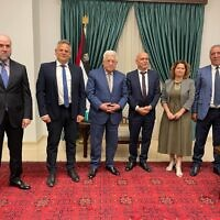 Palestinian Authority President Mahmoud Abbas (center) meets with Meretz ministers Nitzan Horowitz (center-left) and Isawi Frej (center-right), on October 3, 2021 (Meretz)
