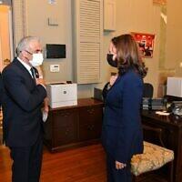 Foreign Minister Yair Lapid meets with US Vice President Kamala Harris in Washington on October 12, 2021. (Shlomi Amsalem/GPO)