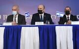 Shin Bet chief Ronen Bar (L), Prime Minister Naftali Bennett (C) and outgoing director Nadav Argaman (R) on October 13, 2021 (Haim Zach/GPO)