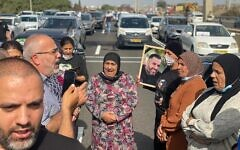 Arab politicians, mayors and others block Route 6 in protest of rampant violent crime within the community, October 28, 2021. (Joint List)