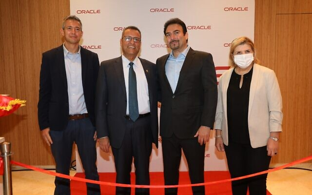 From left: Communications Minister Yoaz Hendel, Jerusalem Mayor Moshe Lion, Eran Feigenbaum, country manager, Oracle Israel, and Economy Minister Orna Barbivai attend the inauguration of Oracle's new cloud center region in Jerusalem, October 13, 2021. (Ezra Levy)