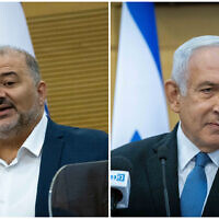 Ra'am leader Mansour Abbas, left, holds a press conference at the Knesset, October 25, 2021; Opposition head and Likud chief Benjamin Netanyahu, right, leads a faction meeting at the Knesset, October 25, 2021. (Yonatan Sindel/Flash90)