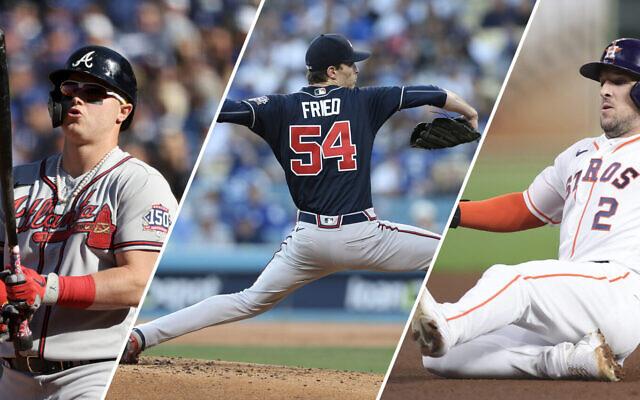 The three Jewish stars of the 2021 World Series, from left: Joc Pederson, Max Fried and Alex Bregman. (Getty Images via JTA)