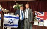 Sir David Amess (right) joins members of the Southend and District Reform Synagogue, in his constituency, to celebrate Israel's 70th Independence Day on April 21, 2018. (Courtesy)