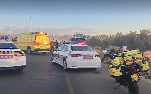 The scene where a man fell from a hot air balloon and died as he hit a car traveling below, near Afula, October 19, 2021. (Screenshot: Magen David Adom)