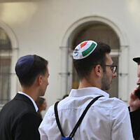 Hungarian Jews celebrate the opening of a new synagogue in Budapest on Aug. 27, 2021. (Cnaan Liphshiz via JTA)