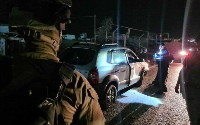 The scene of a car ramming attack near the Qalandiya checkpoint on October 8, 2021. (Border Police)