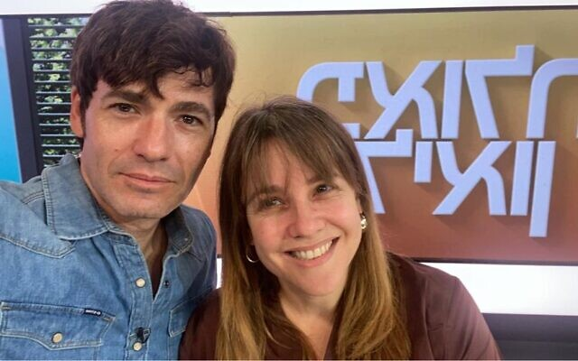 Israeli Channel 12 morning show anchors Paula and Leon Rosenberg, a real couple in life and work, go on air without makeup, October 10, 2021, in what they said was a first for Israeli television hosts. (Facebook)