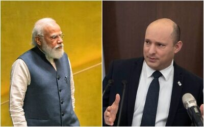Indian Prime Minister Narendra Modi (L) and Prime Minister Naftali Bennett. (Composite/AP)