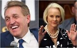 (L-R) Then Sen. Jeff Flake, R-Ariz. participates in an interview at a forum held by the The Atlantic in Washington on Oct. 2, 2018 and Cindy McCain, wife of former Arizona Sen. John McCain, waves to the crowd after being acknowledged by Arizona Republican Gov. Doug Ducey during his State of the State address in Phoenix on Jan. 13, 2020. (Composite/AP)