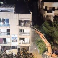 The demolition of a building in Ra'anana on October 4, 2021. (Screenshot: Fire and Rescue Authority)