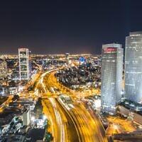 The Tel Aviv skyline at night. (Shai Pal on Unsplash)