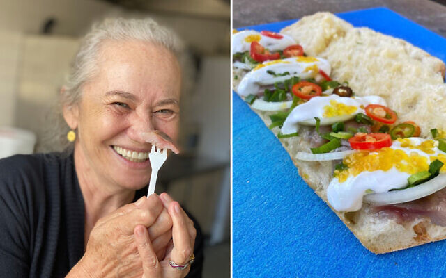 Sherry Ansky (left), namesake and founder of the Tel Aviv sandwich shop Sherry Herring, clowns with a bit of herring, the main ingredient in her signature sandwich (right). (Courtesy/via JTA)