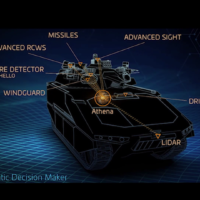 Various sensors on a tank are listed in a mockup video demonstrating the potential capabilities of Israel's future tanks, released on October 10, 2021. (Defense Ministry)