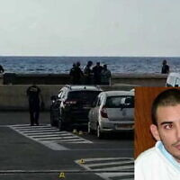 Medics and police officers are seen near the scene of a shooting at Jaffa's port, on October 23, 2021; Insert: Abed Qazaz. (Magen David Adom; Courtesy)