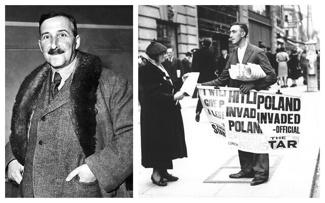 Undated portrait of Austrian novelist, playwright, journalist and biographer Stefan Zweig. (AP Photo); A London woman buys a newpaper announcing Nazi Germany's invasion of Poland, on September 1, 1939. (AP Photo)